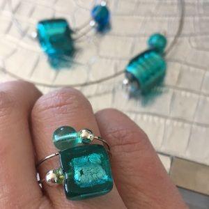 Jewelry - Murano Glass & Wire Necklace, Bracelet & Ring Set